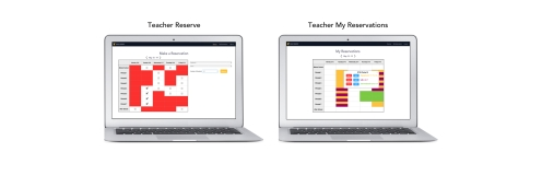"""AFTER: My suggestion is to create a home page that includes both the currently booked grid as well as the dropdown for new reservations. We also have a grid view of the """"My Reservations"""" page, creating consistency in the way teachers view these weekly calendars."""